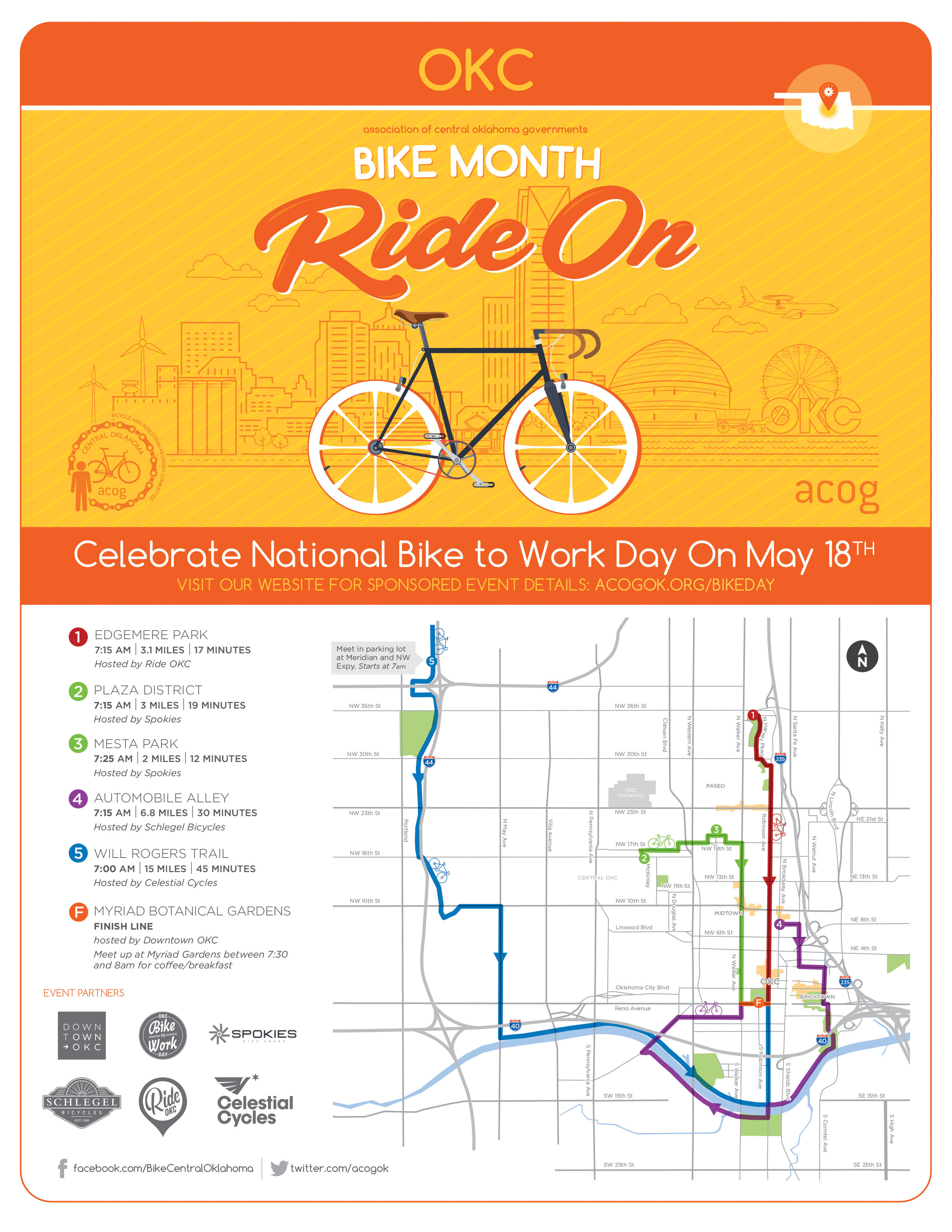 2018 Bike To Work Day Map for Oklahoma City - ACOG