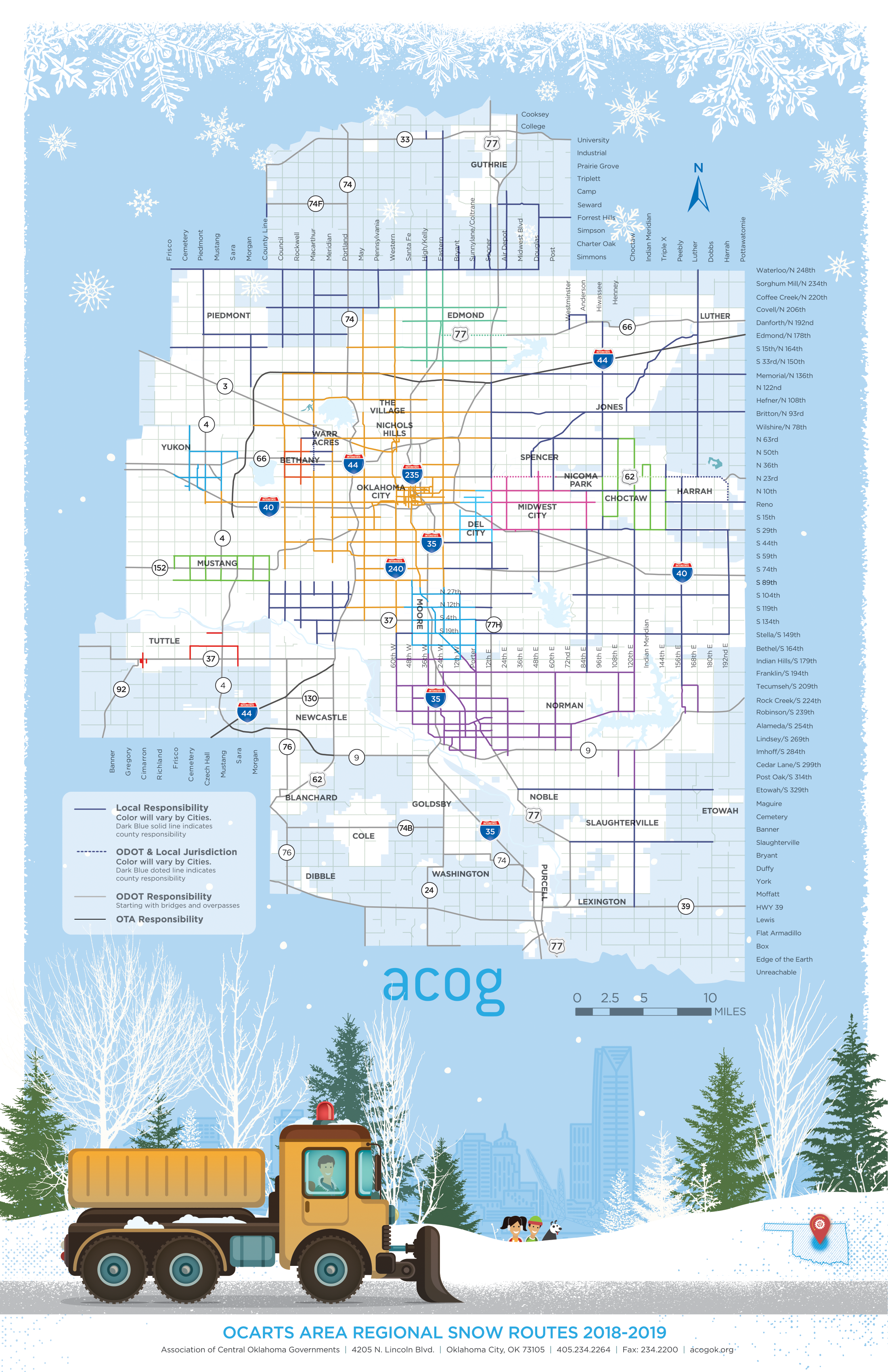 2019 Free Printable Snow Route Map For Okc Region Acog